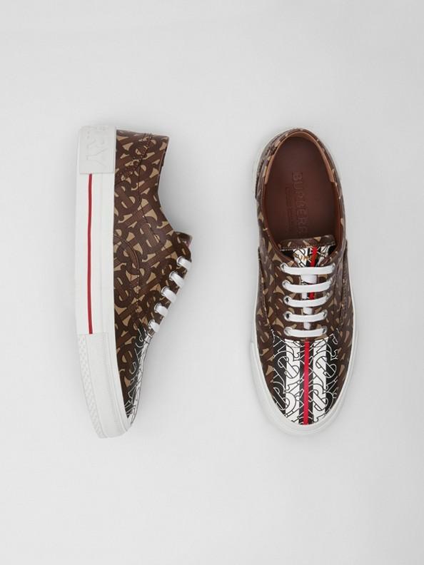 Sneaker in e-canvas con stampa monogramma a righe (Marrone Redini)