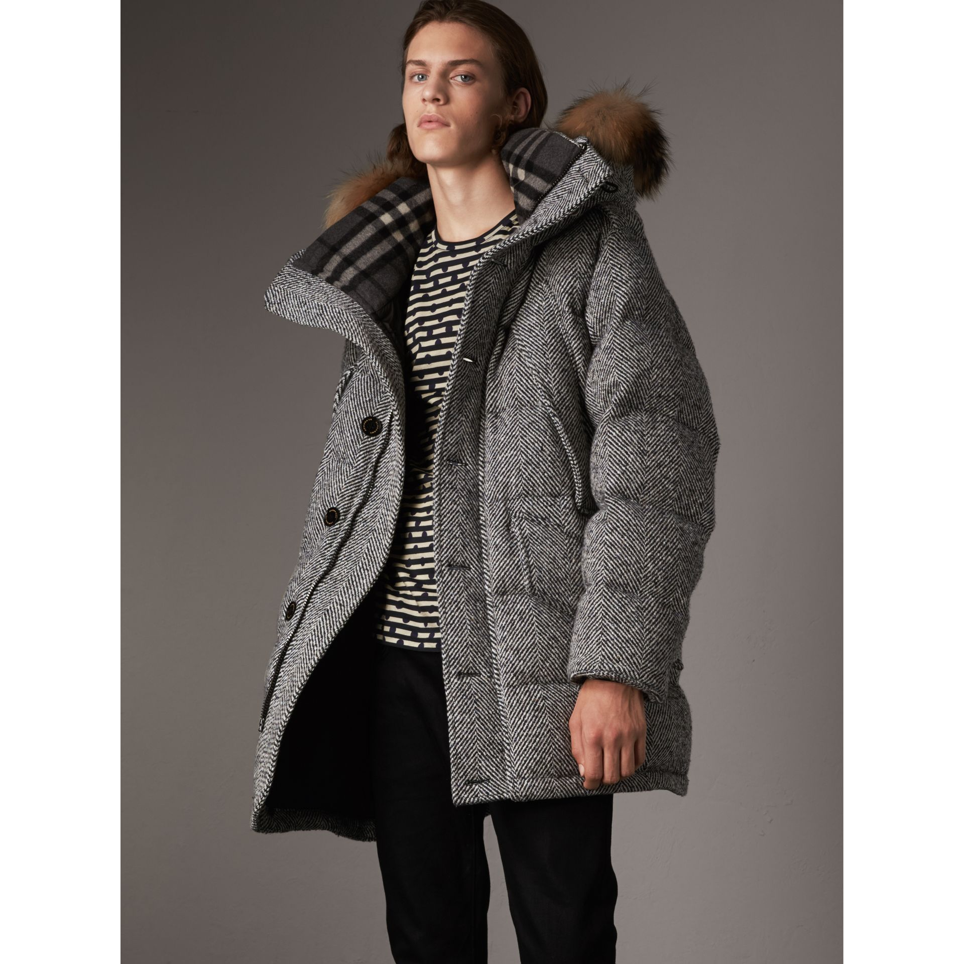 Detachable Fur Trim Hooded Down-filled Cashmere Parka in Natural White/black - Men | Burberry United Kingdom - gallery image 1