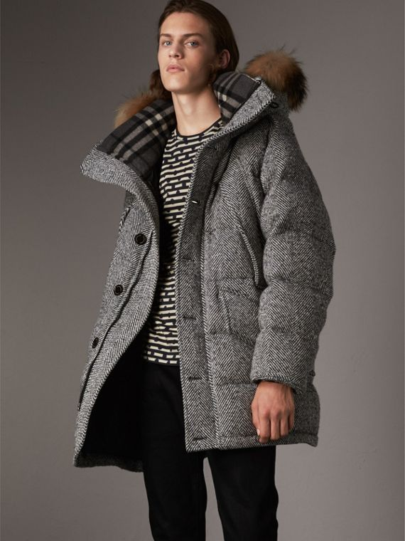 Detachable Fur Trim Hooded Down-filled Cashmere Parka in Natural White/black
