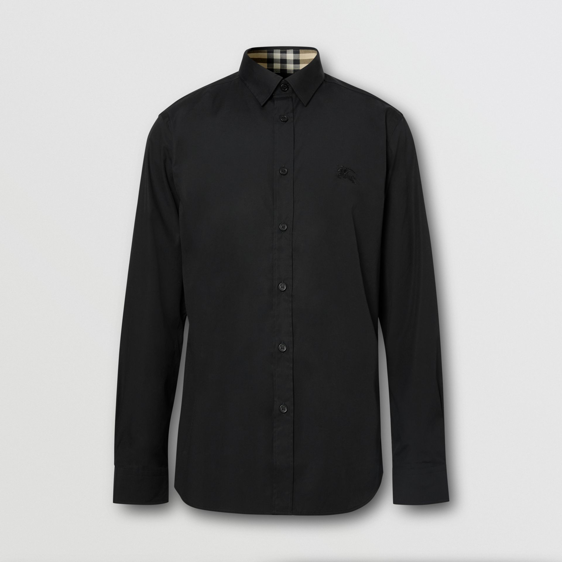Slim Fit Embroidered EKD Stretch Cotton Shirt in Black - Men | Burberry - gallery image 6