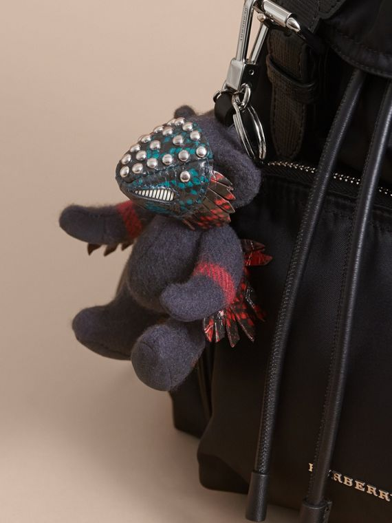 Thomas Bear in Check Cashmere with Beasts Detail in Navy - Men | Burberry - cell image 2