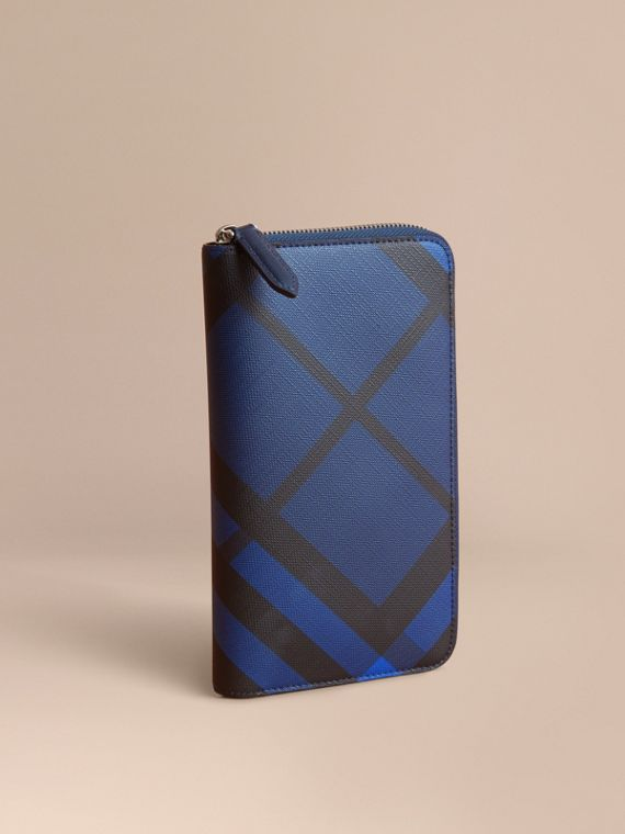 London Check Ziparound Wallet in Bright Lapis
