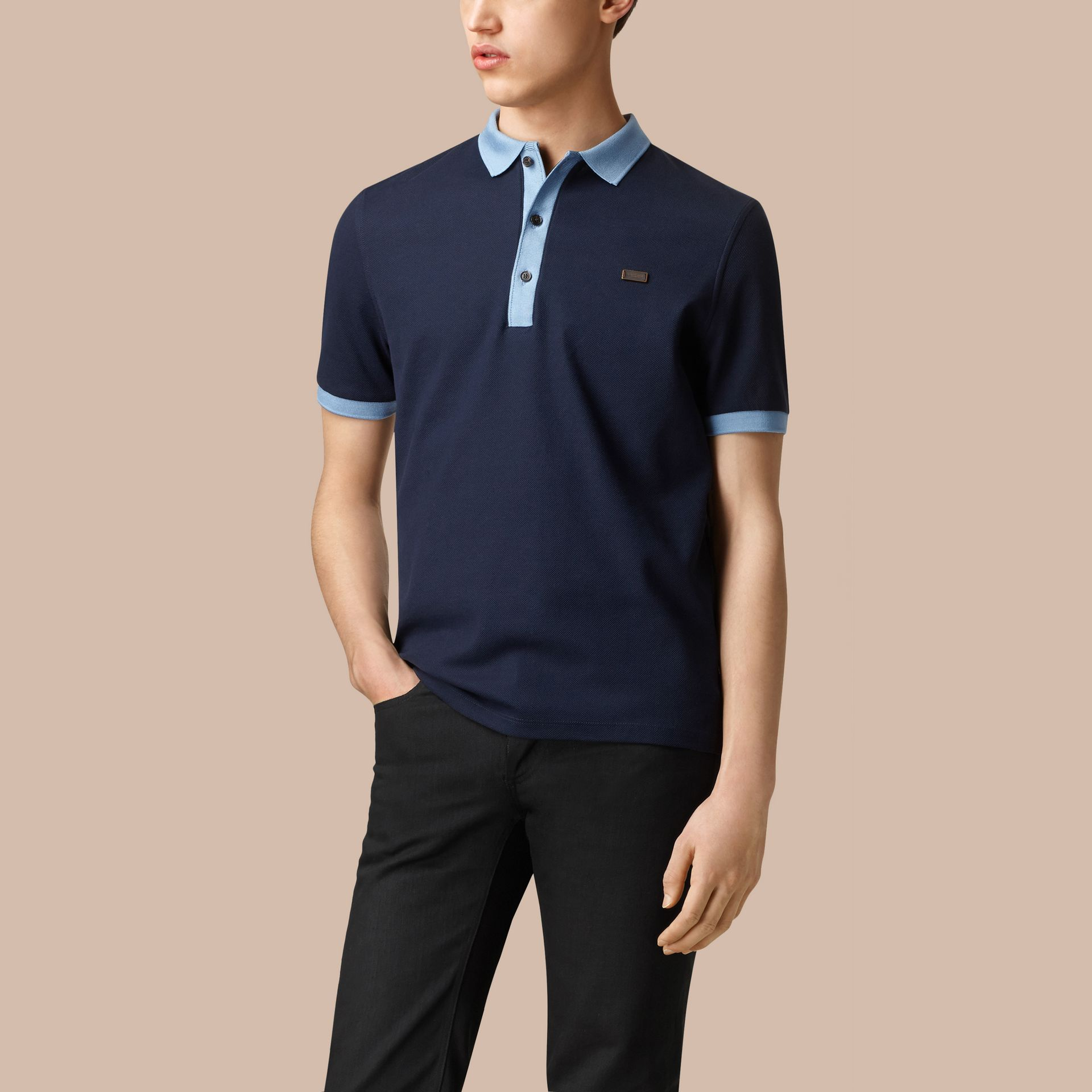 Navy/pale blue Mercerised Cotton Polo Shirt - gallery image 3