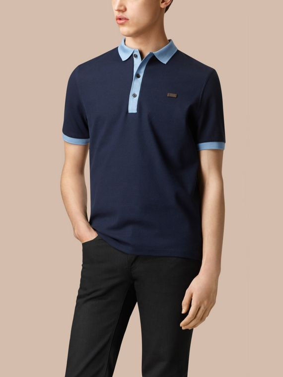 Navy/pale blue Mercerised Cotton Polo Shirt - cell image 2