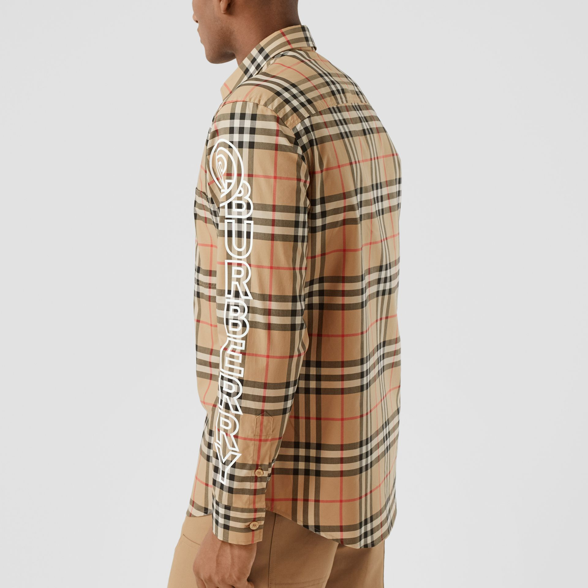 Logo Print Vintage Check Cotton Poplin Shirt in Archive Beige - Men | Burberry - gallery image 4