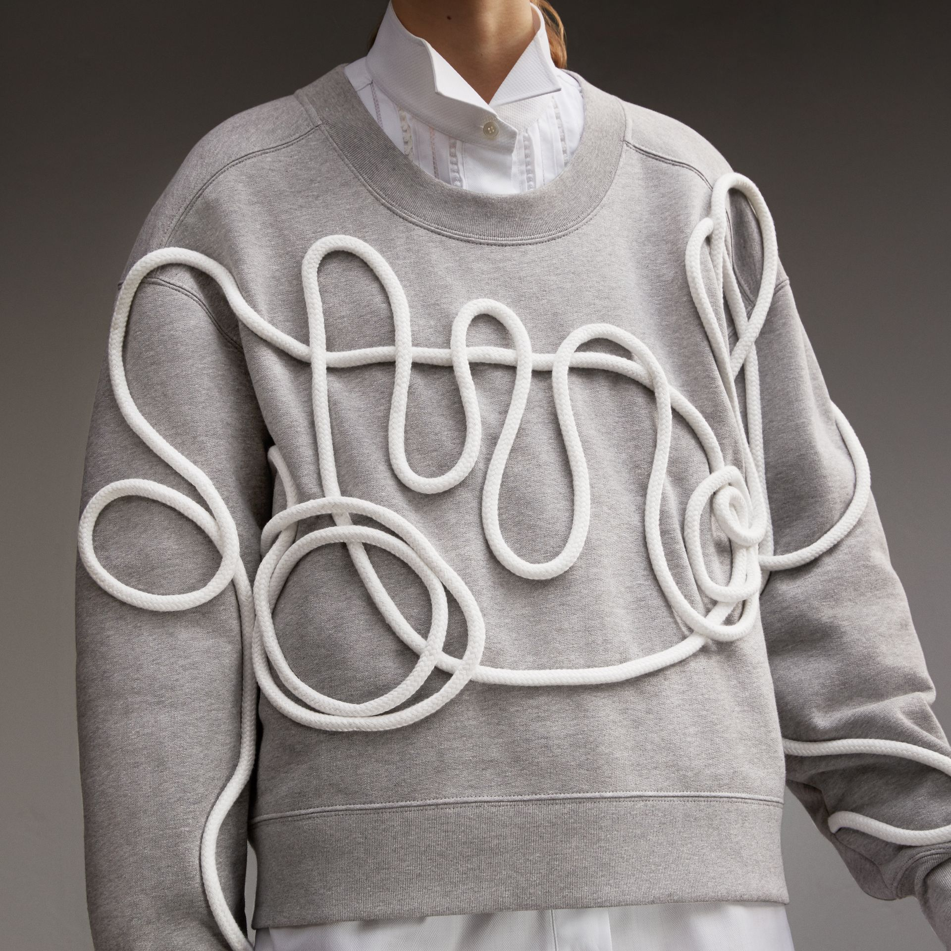 Unisex Brushed-back Jersey Sweatshirt with Rope Detail in Grey Melange - Women | Burberry - gallery image 5