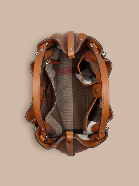 Saddle brown Small Check Detail Leather Tote Bag Saddle Brown - cell image 3