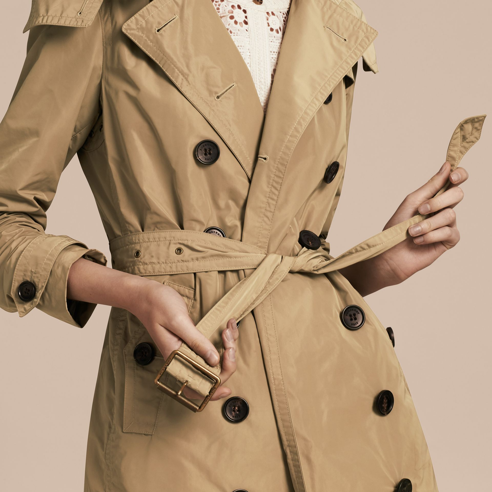 Taffeta Trench Coat with Detachable Hood in Sisal - Women | Burberry - gallery image 6