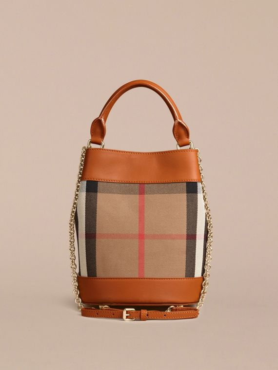 Light toffee The Small Bucket Bag in House Check and Leather Light Toffee - cell image 2