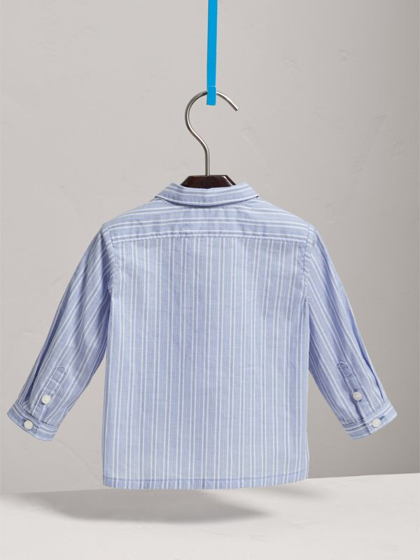 Directional Stripe Cotton Shirt in City Blue | Burberry - cell image 3