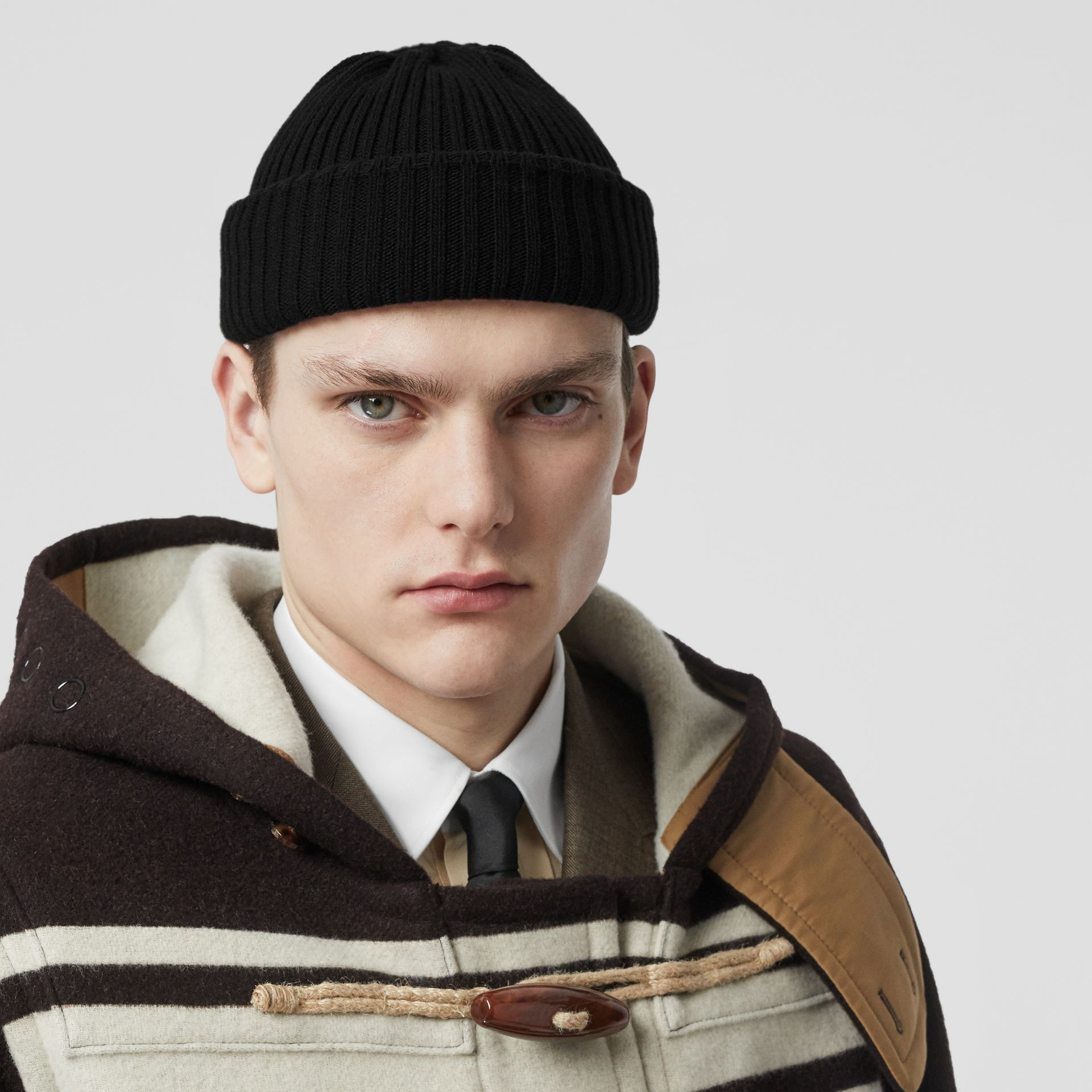 Rib Knit Wool Beanie in Black | Burberry - gallery image 3