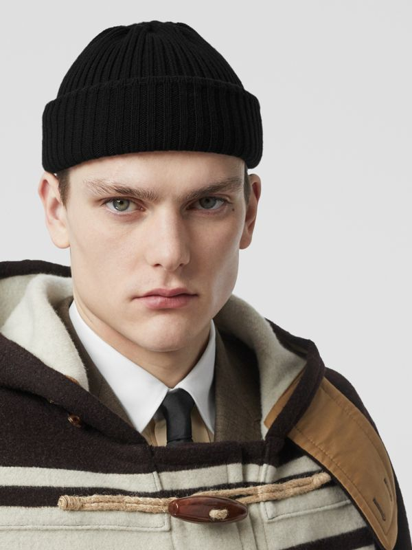 Rib Knit Wool Beanie in Black | Burberry - cell image 3