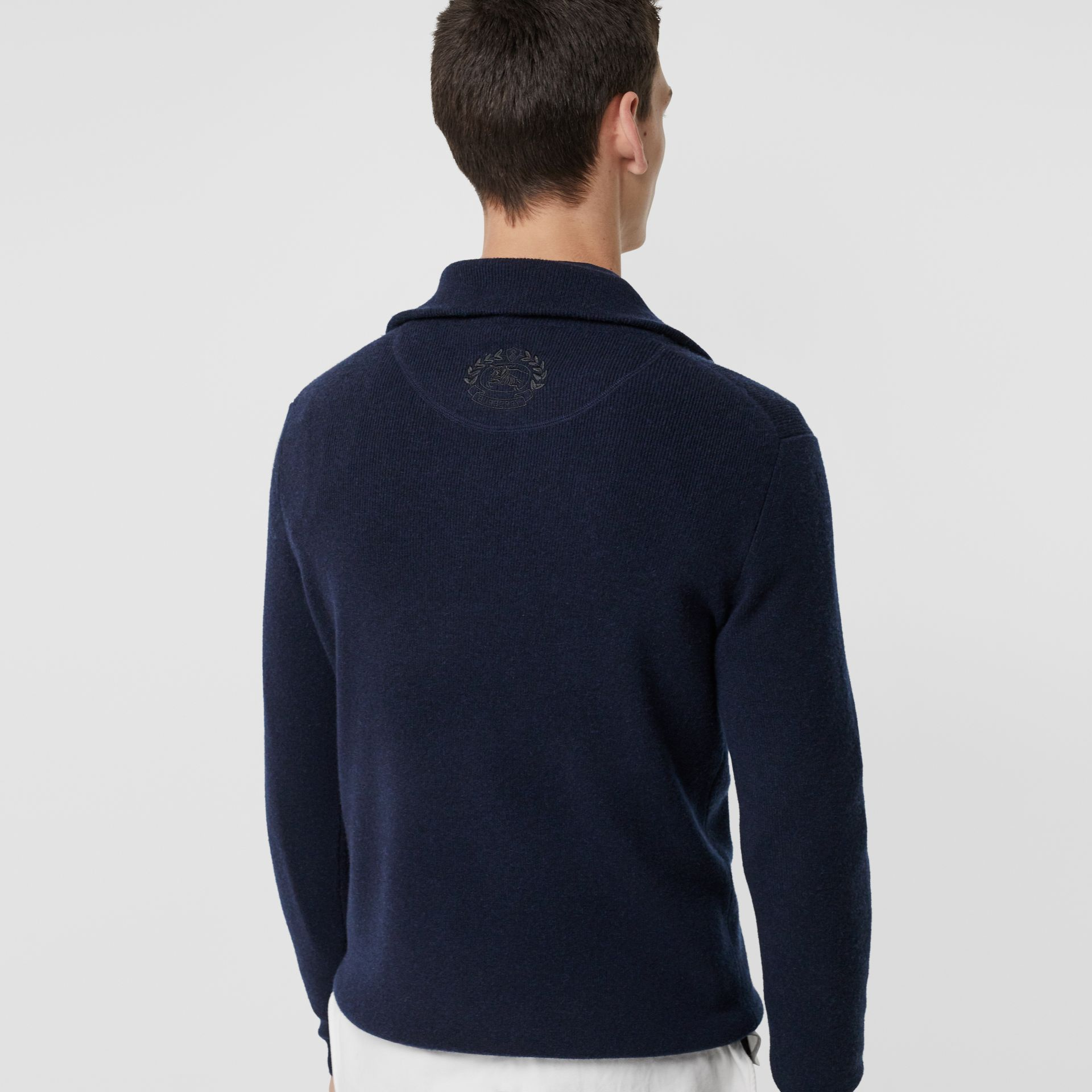 Rib Knit Cashmere Half-zip Sweater in Navy - Men | Burberry Singapore - gallery image 2