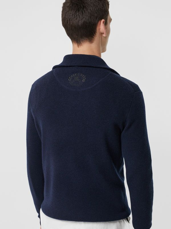 Rib Knit Cashmere Half-zip Sweater in Navy - Men | Burberry Hong Kong - cell image 2