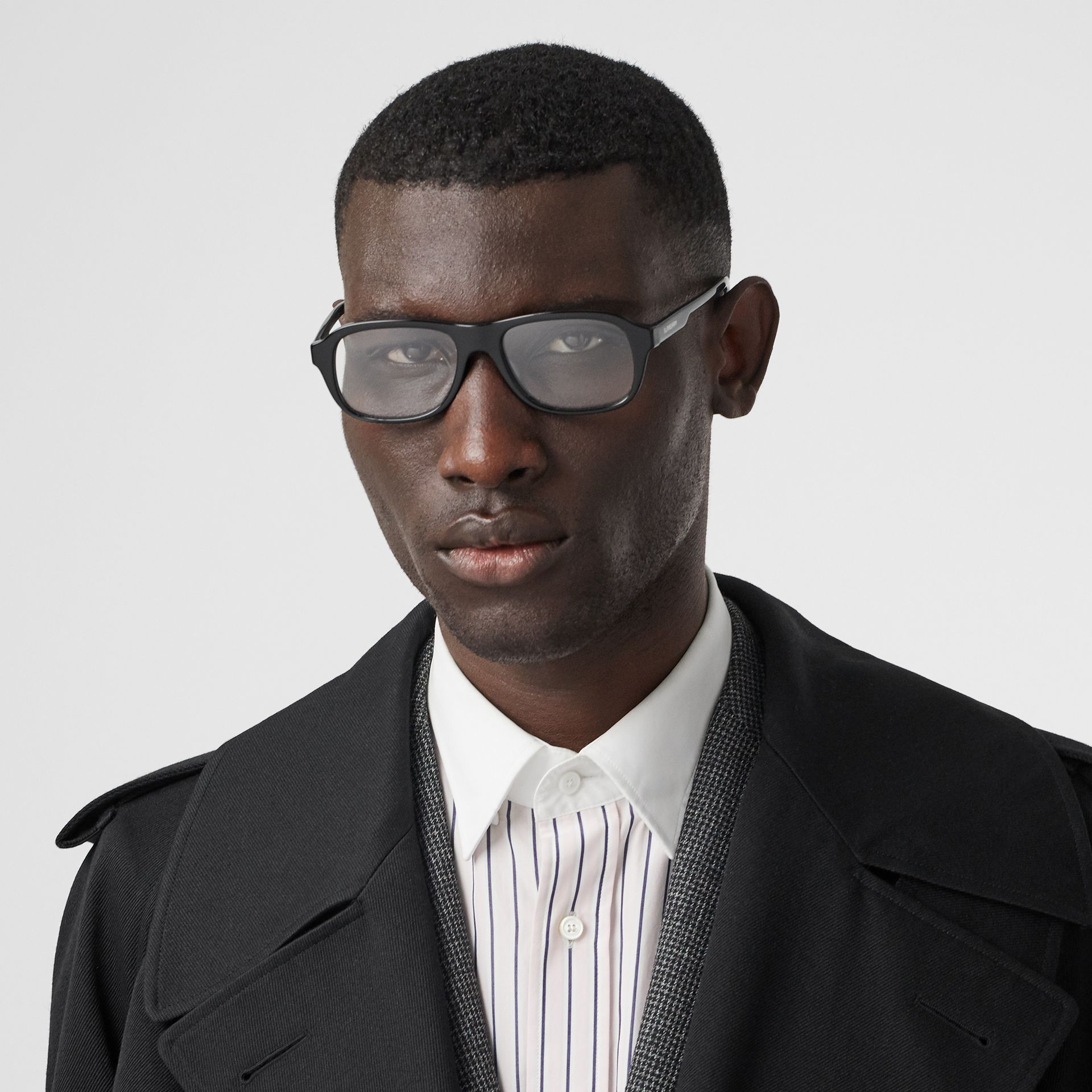 Rectangular Optical Frames in Black - Men | Burberry United Kingdom - gallery image 2