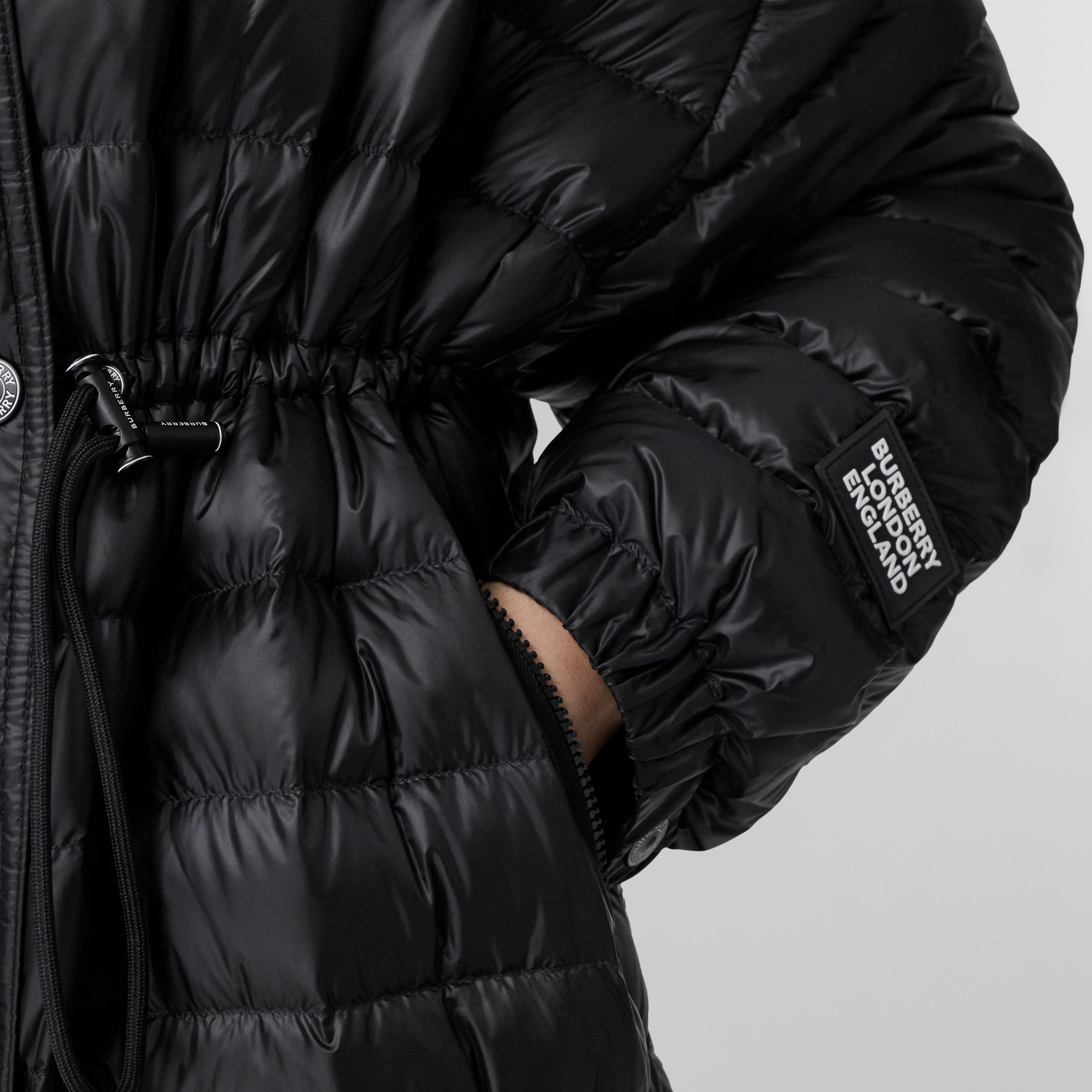 Logo Tape Lightweight Hooded Puffer Coat in Black - Women | Burberry - 2