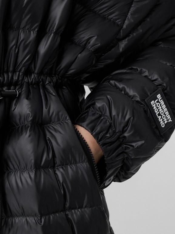 Logo Tape Lightweight Hooded Puffer Coat in Black - Women | Burberry United Kingdom - cell image 1