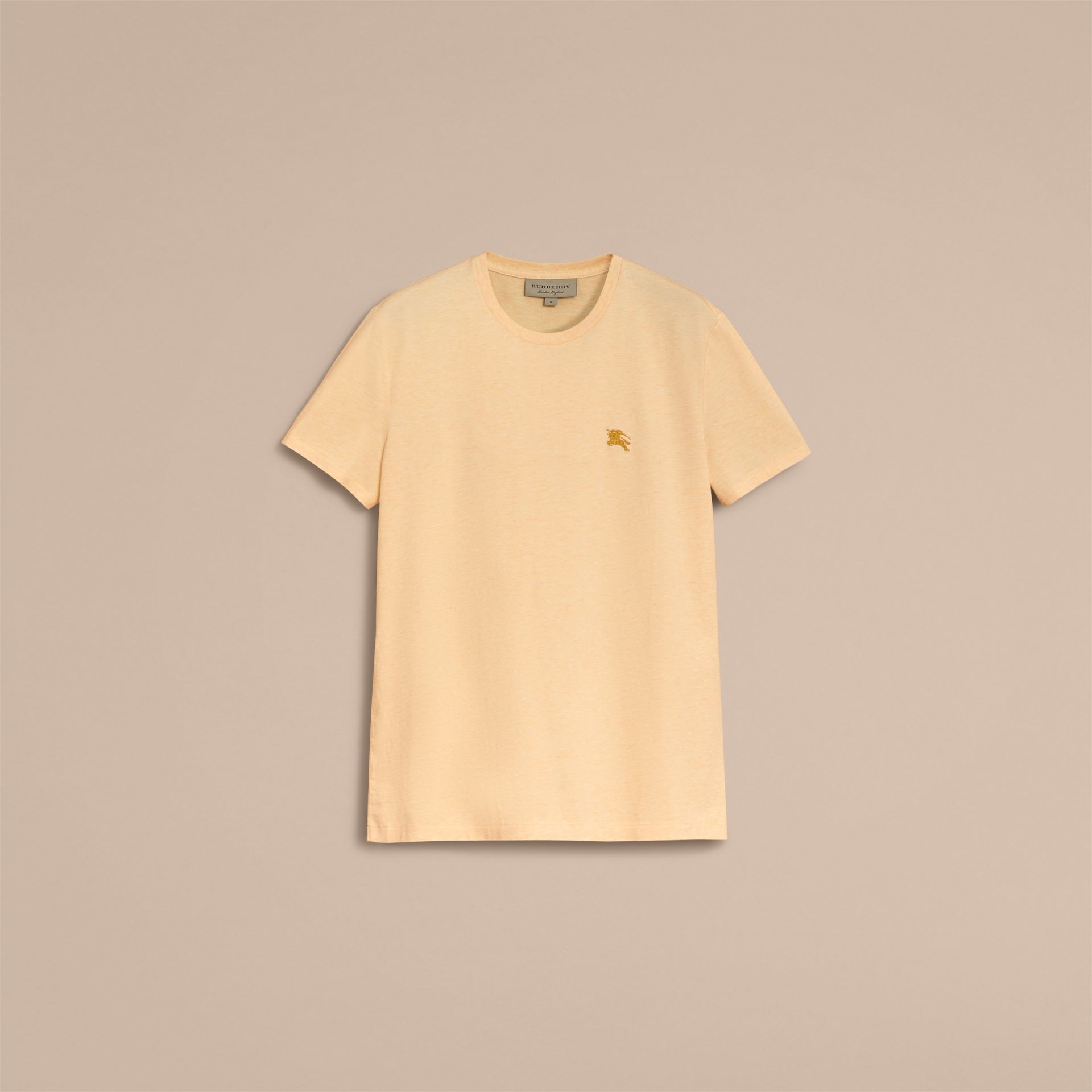 Cotton Jersey T-shirt in Pale Yellow Melange - Men | Burberry - gallery image 4