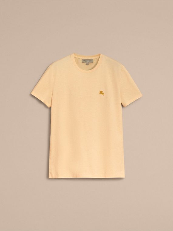 Cotton Jersey T-shirt in Pale Yellow Melange - Men | Burberry Singapore - cell image 3