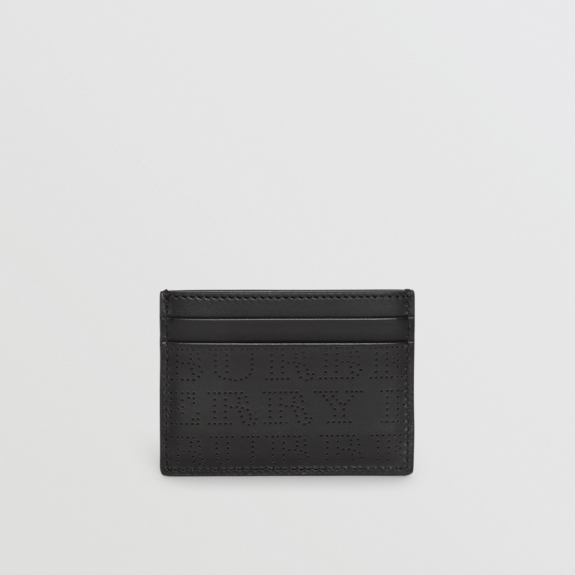 Perforated Logo Leather Card Case in Black | Burberry - gallery image 5