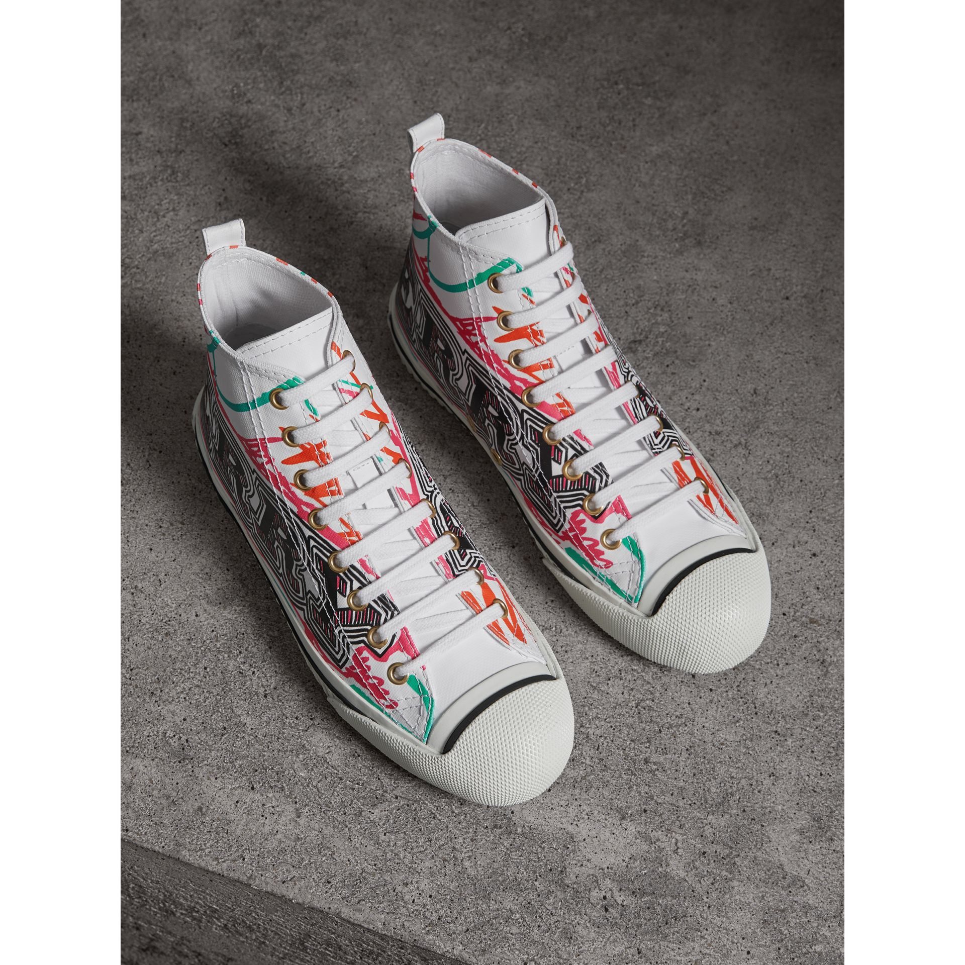 Doodle Print Coated Cotton High-top Sneakers in Optic White - Women | Burberry Hong Kong - gallery image 0