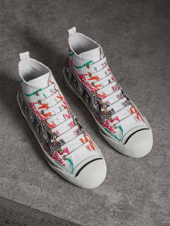Doodle Print Coated Cotton High-top Sneakers in Optic White