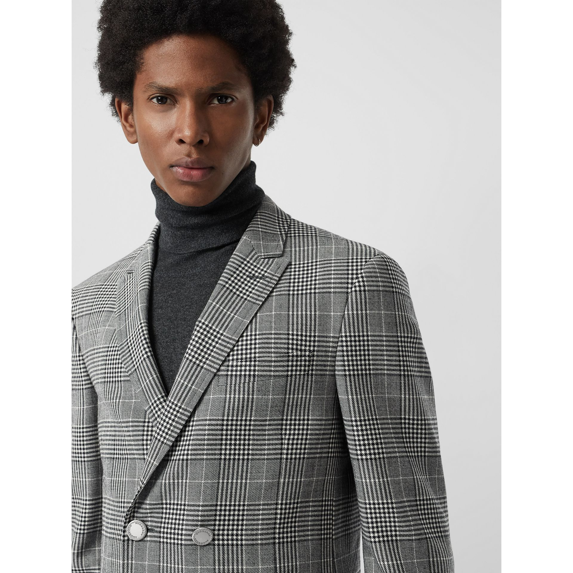 Slim Fit Check Wool Double-breasted Jacket in Black - Men | Burberry United Kingdom - gallery image 1
