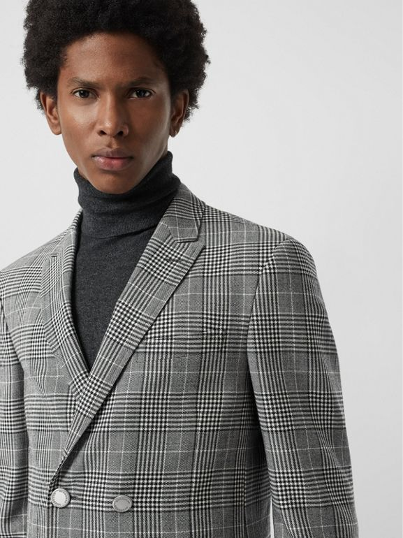 Slim Fit Check Wool Double-breasted Jacket in Black - Men | Burberry Singapore - cell image 1