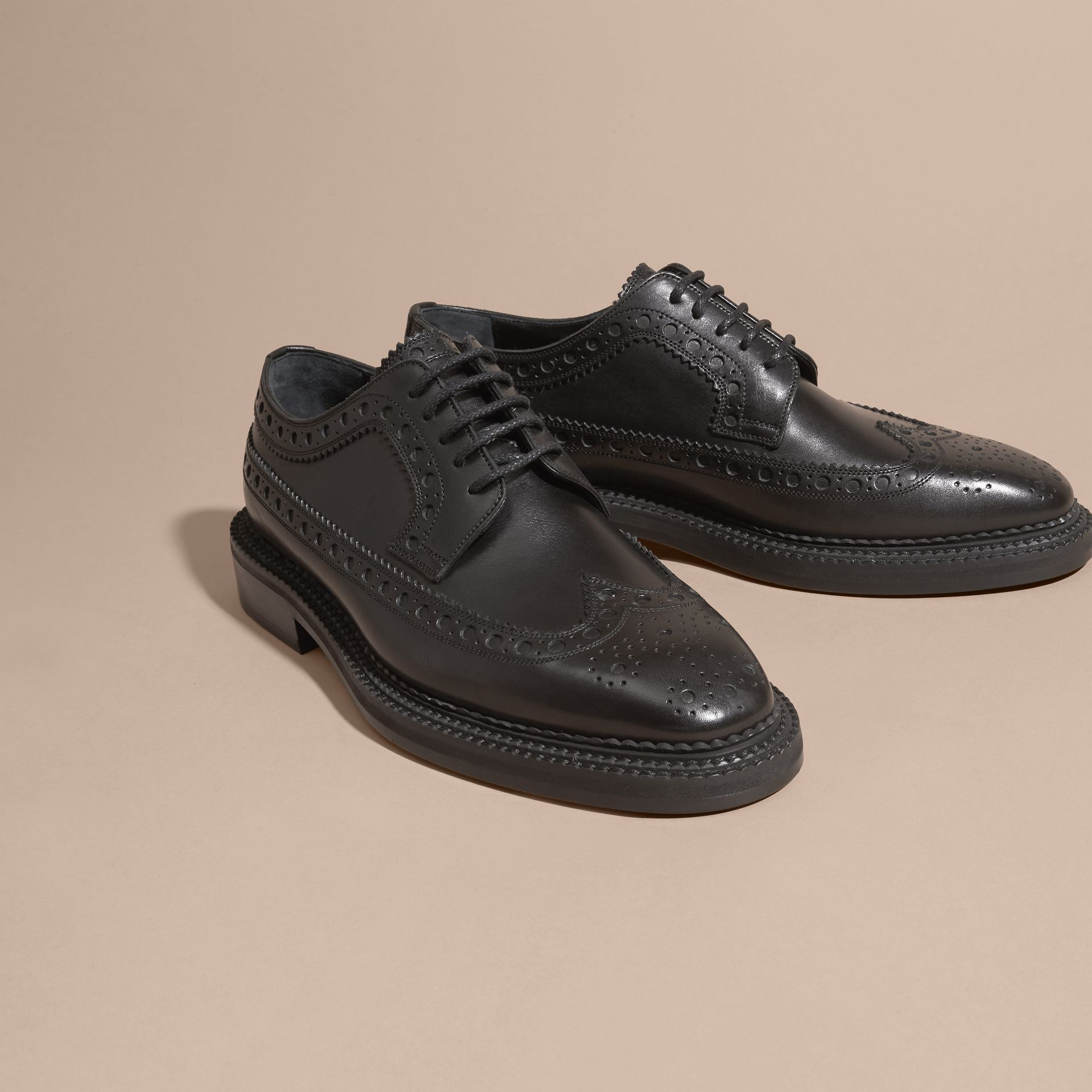 Leather Wingtip Brogues in Black - Men | Burberry - gallery image 3