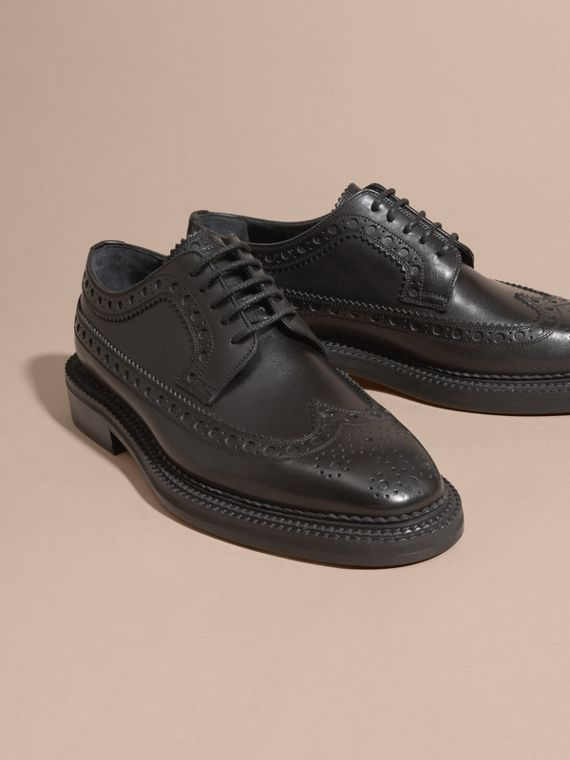 Leather Wingtip Brogues in Black - Men | Burberry - cell image 2