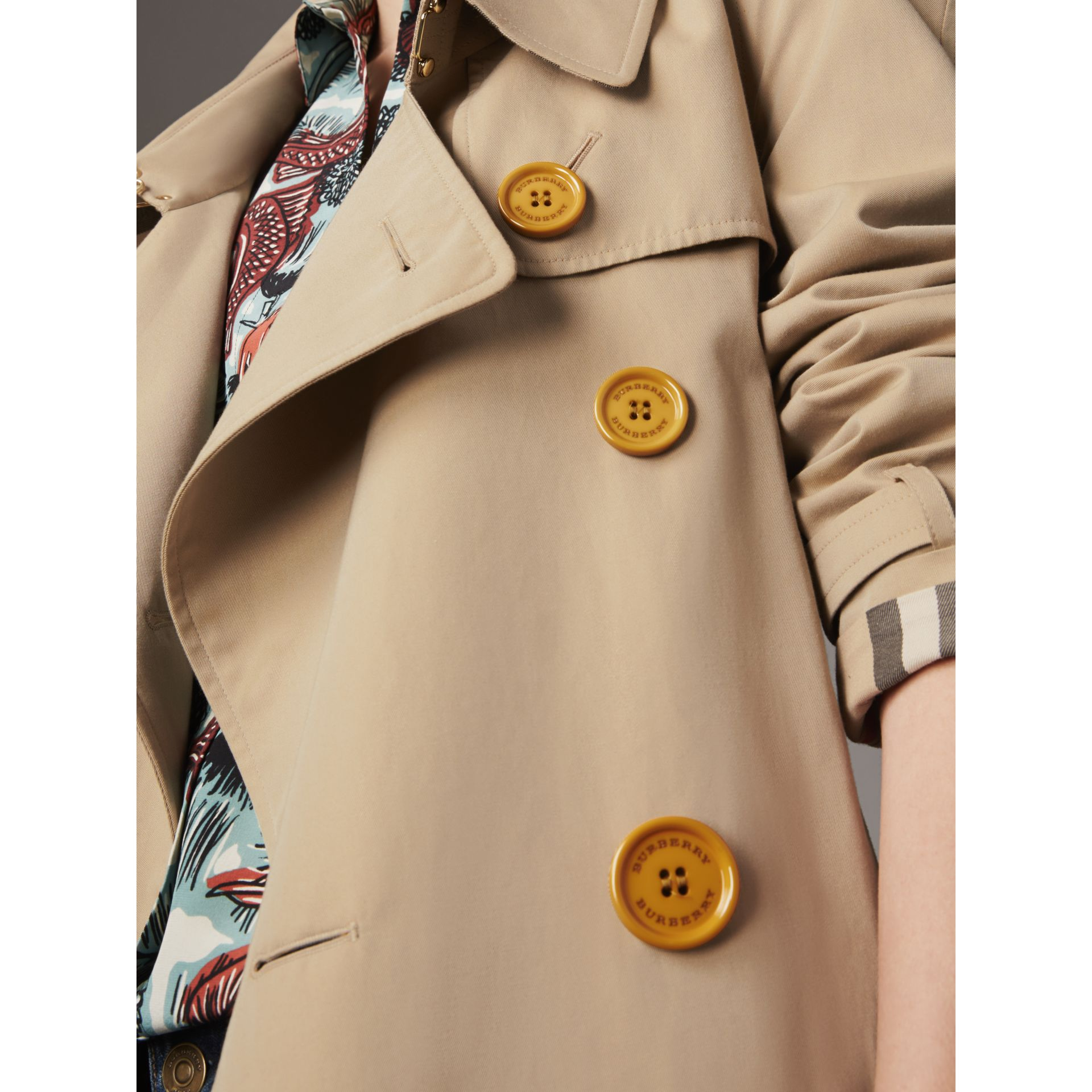 Resin Button Cotton Gabardine Oversize Trench Coat in Honey - Women | Burberry - gallery image 2