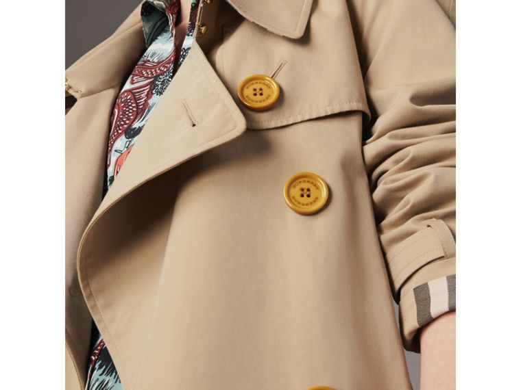 Resin Button Cotton Gabardine Oversize Trench Coat in Honey - Women | Burberry - cell image 1