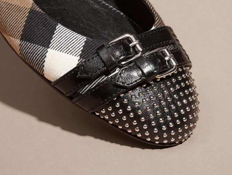 Black Stud and Buckle Detail House Check Ballerinas - cell image 1