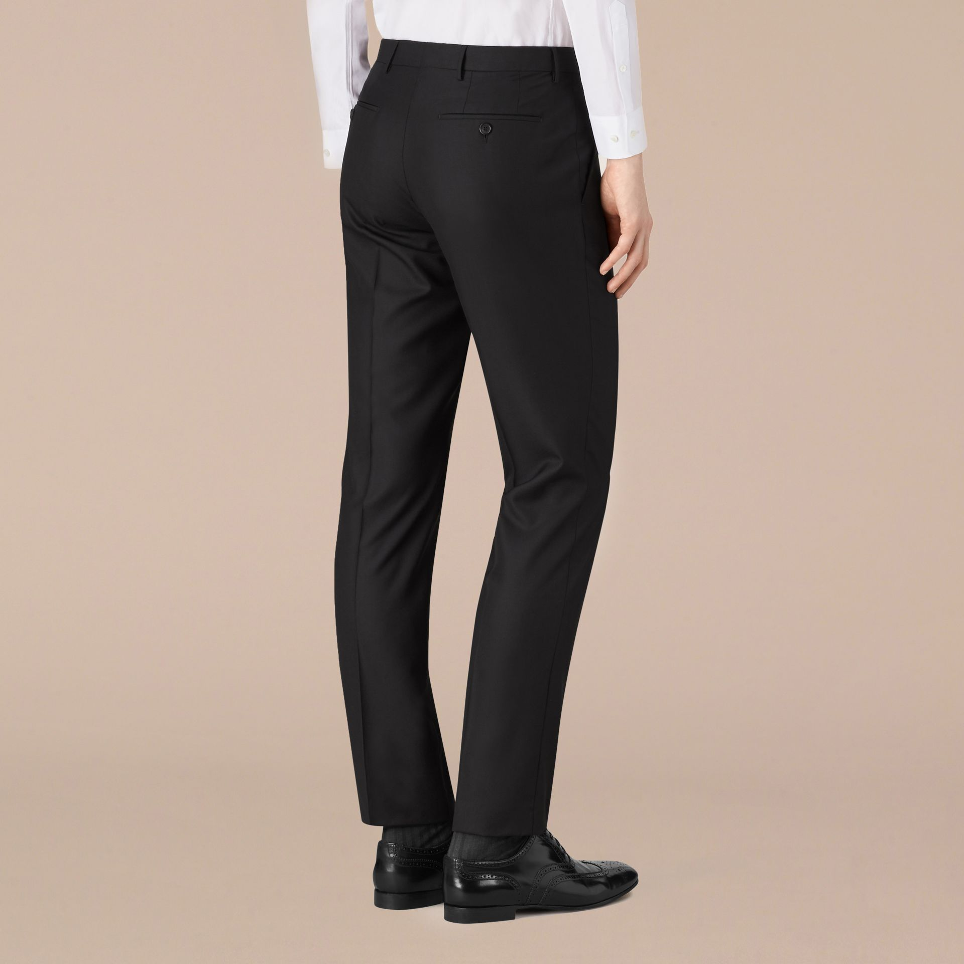 Black Modern Fit Wool Trousers Black - gallery image 3