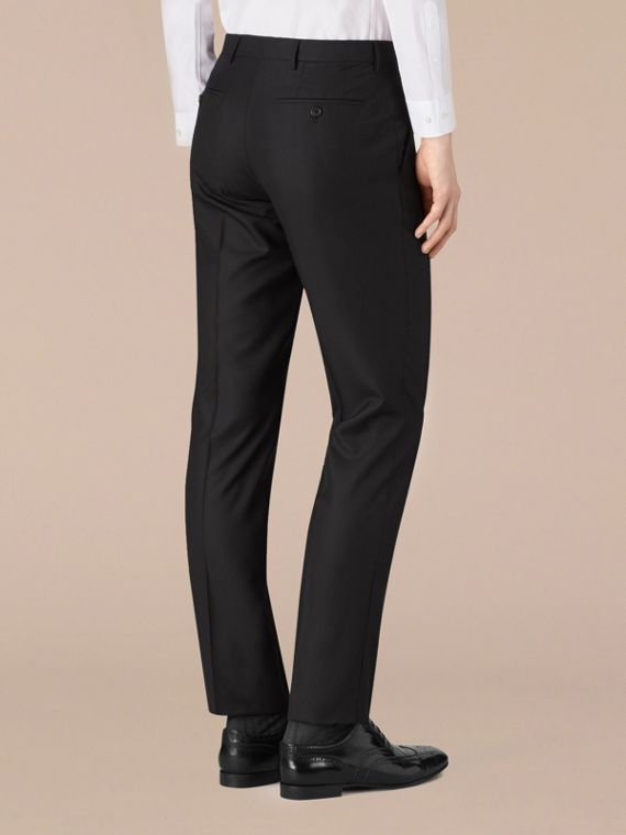 Modern Fit Wool Trousers in Black - Men | Burberry - cell image 3