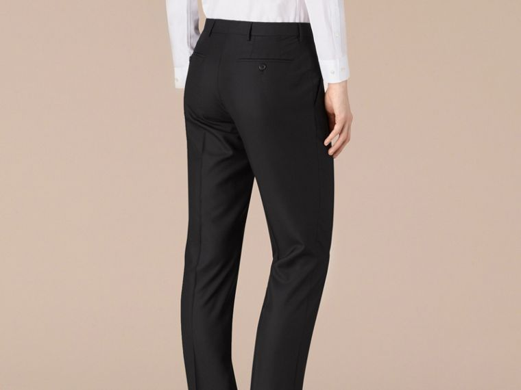 Modern Fit Wool Trousers in Black - Men | Burberry - cell image 4
