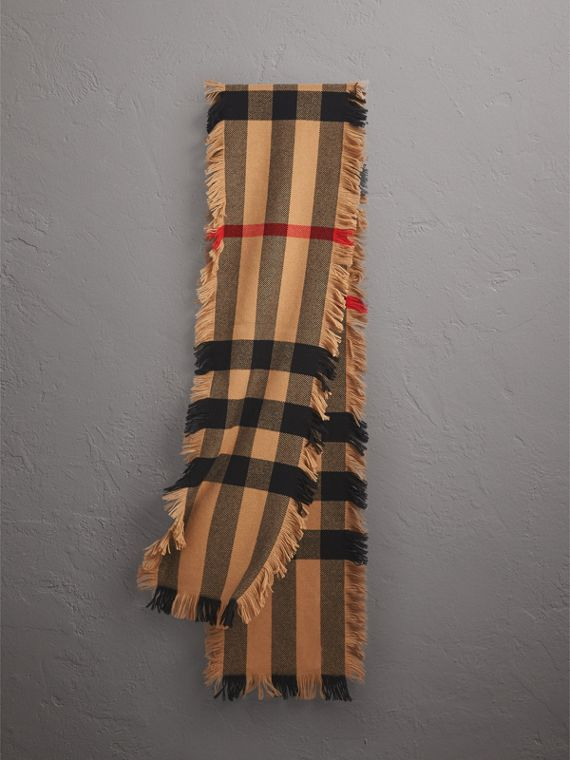 Fringed Check Wool Scarf in Camel | Burberry