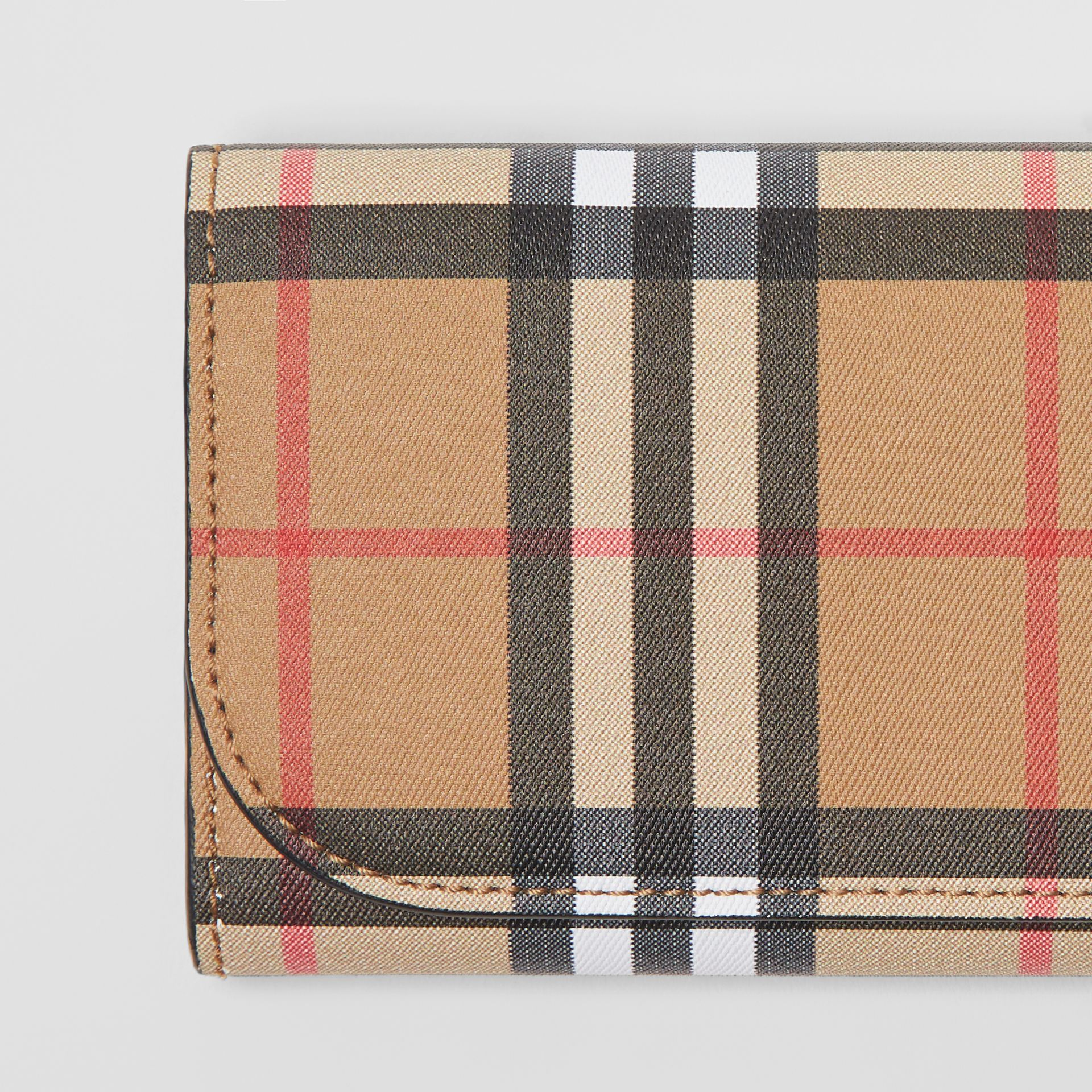 Vintage Check and Leather Continental Wallet in Black - Women | Burberry Australia - gallery image 1