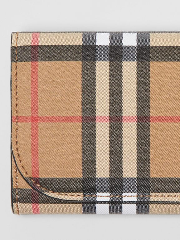Vintage Check and Leather Continental Wallet in Black - Women | Burberry Canada - cell image 1