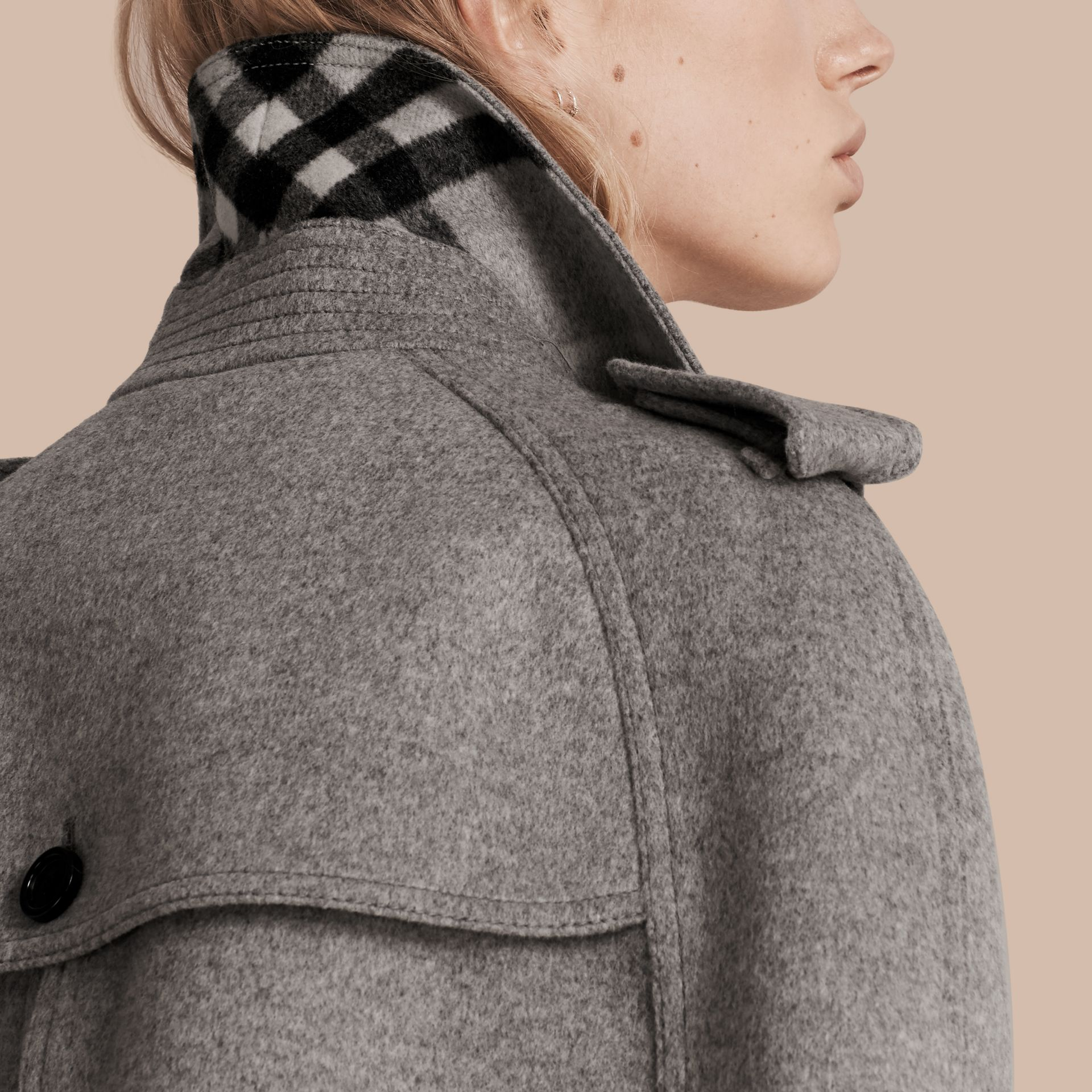 Pale grey melange Wool Cashmere Trench Cape with Detachable Fur Collar - gallery image 5
