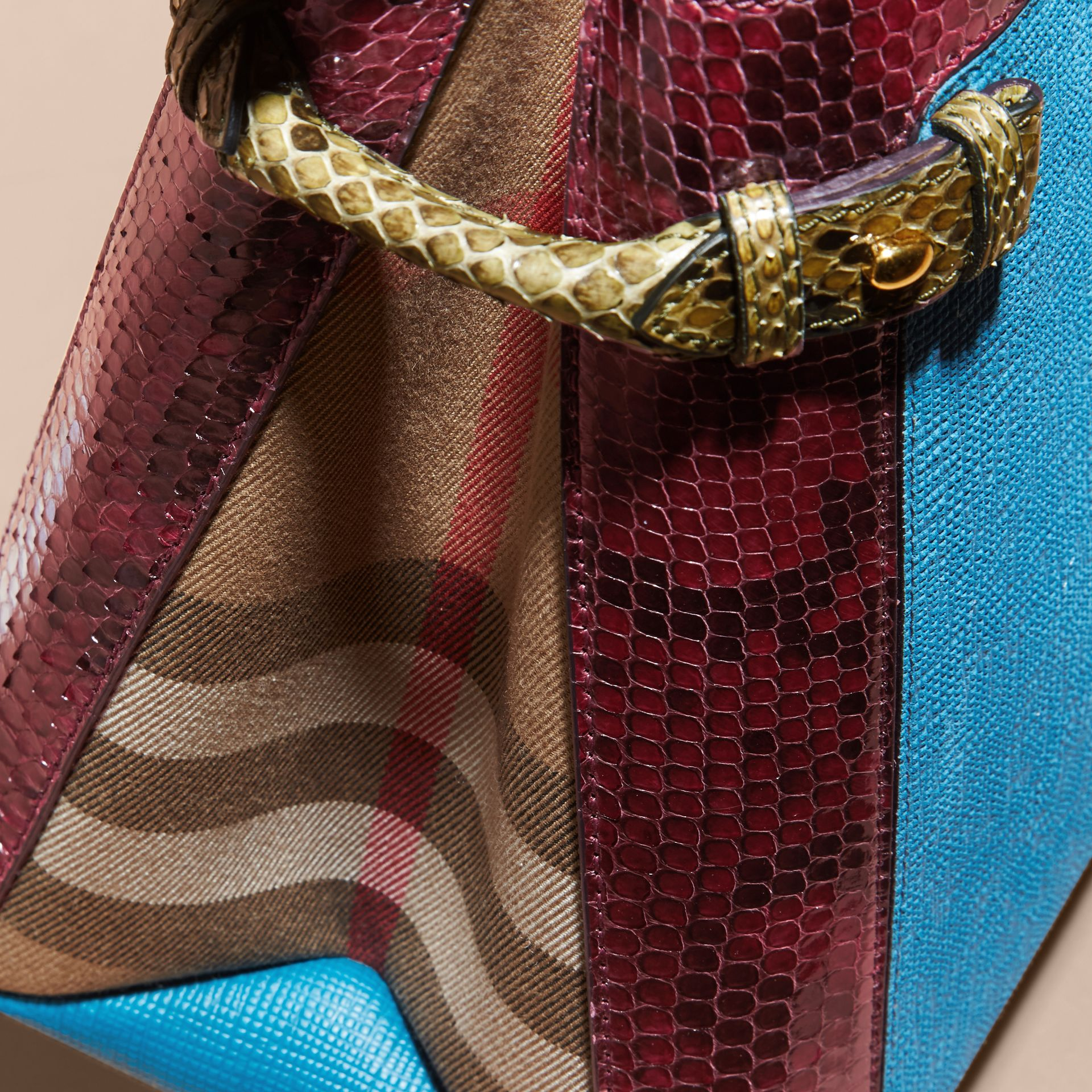 The Medium Banner in Leather, Python and House Check in Peacock Blue - Women | Burberry - gallery image 7