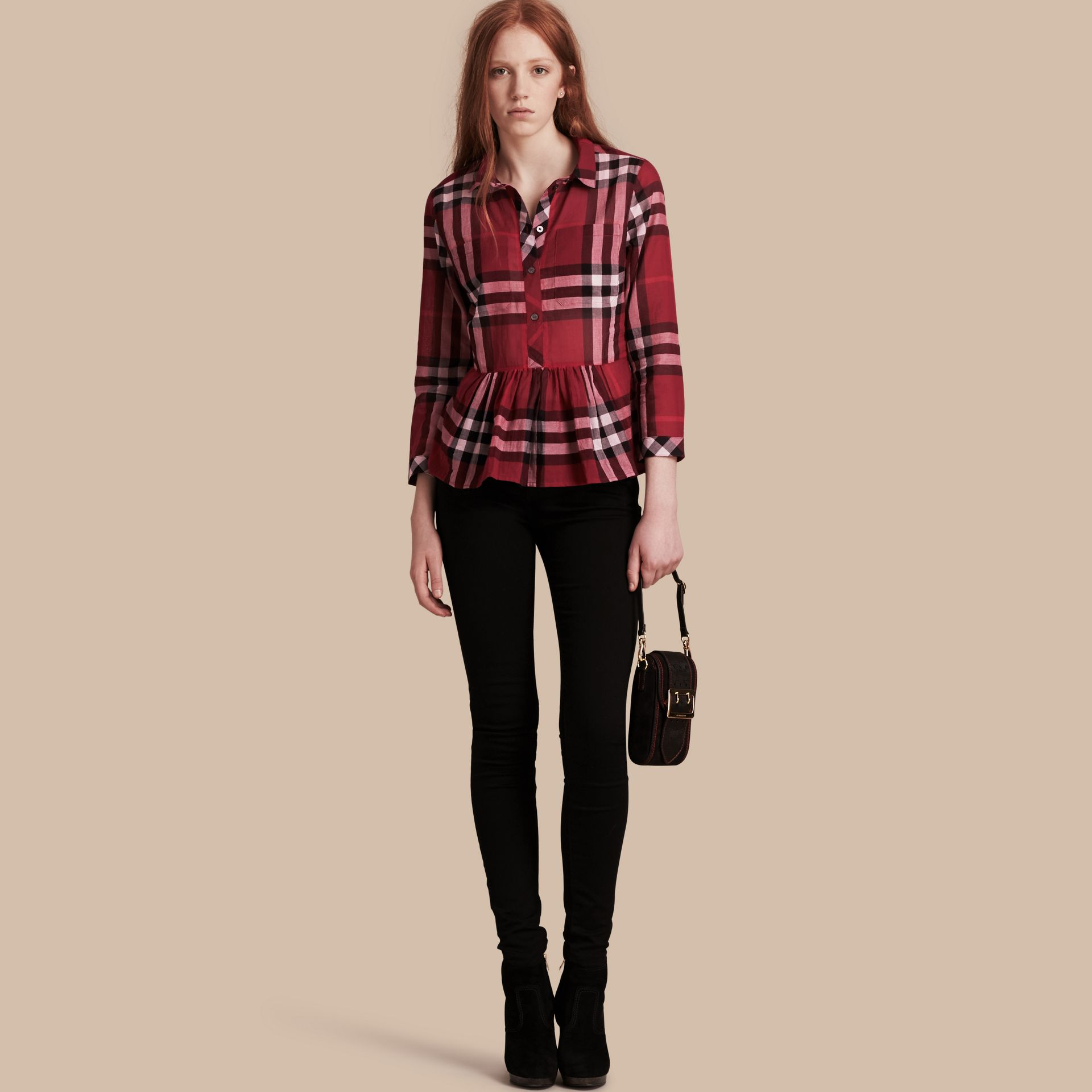 Poppy red Check Cotton Peplum Shirt Poppy Red - gallery image 1