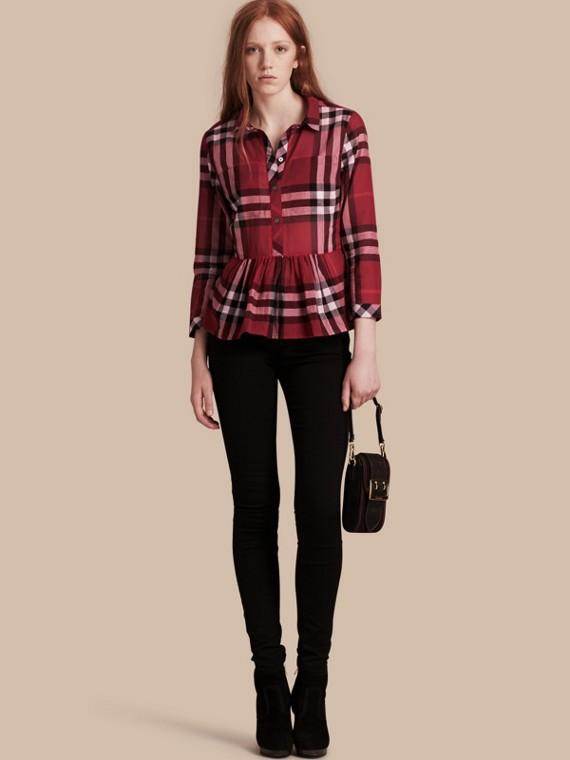 Check Cotton Peplum Shirt Poppy Red