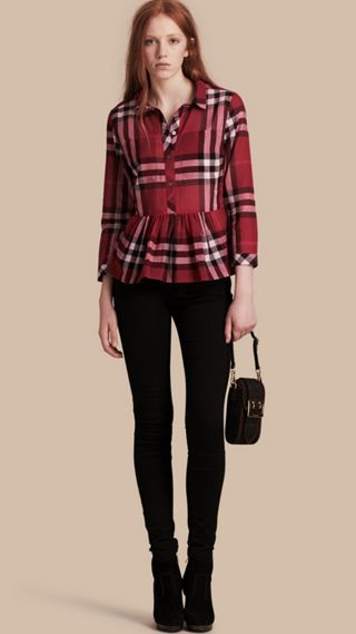 Check Cotton Peplum Shirt