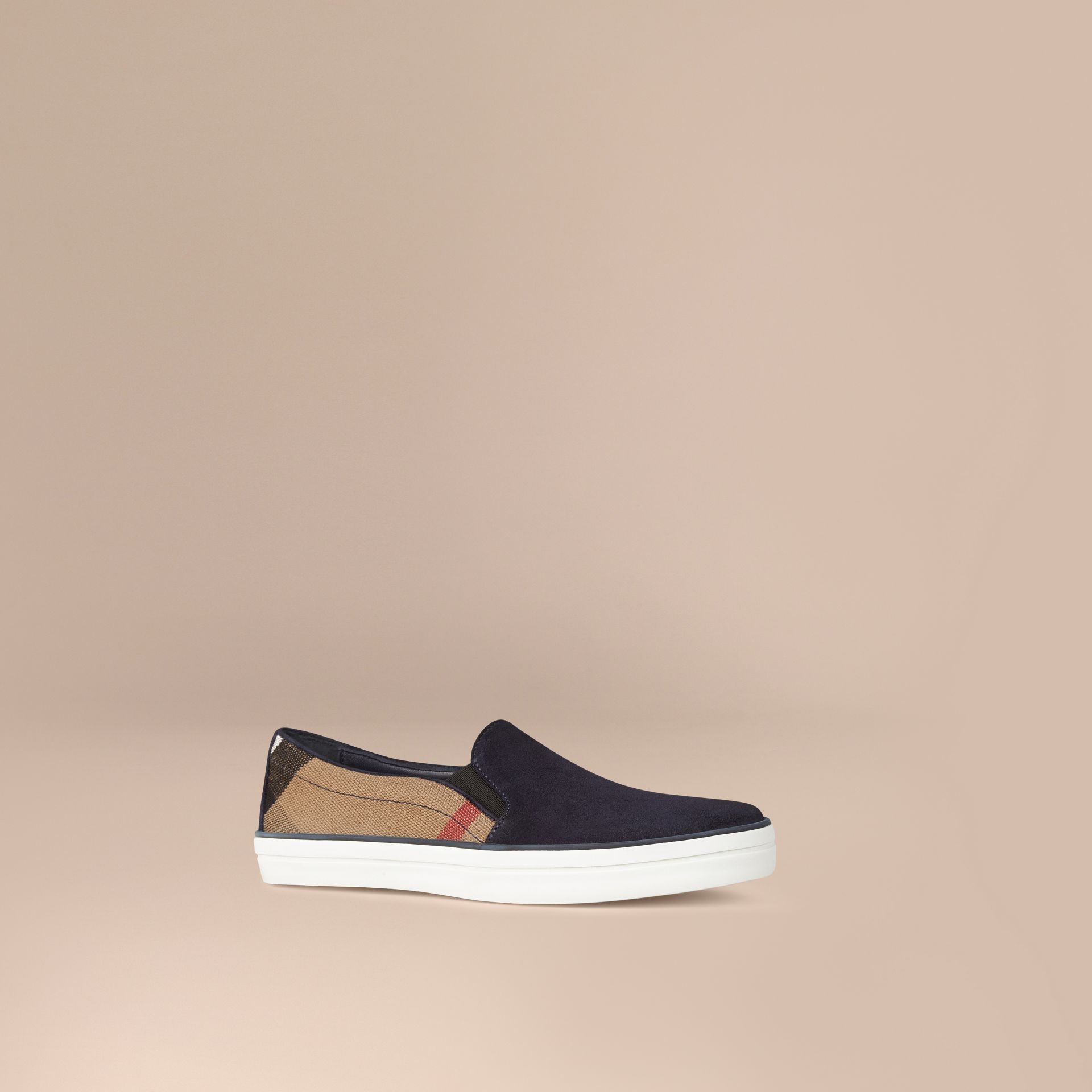 Navy Canvas Check and Suede Slip-on Trainers Navy - gallery image 1