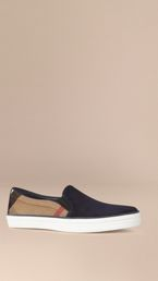 Canvas Check and Suede Slip-on Trainers