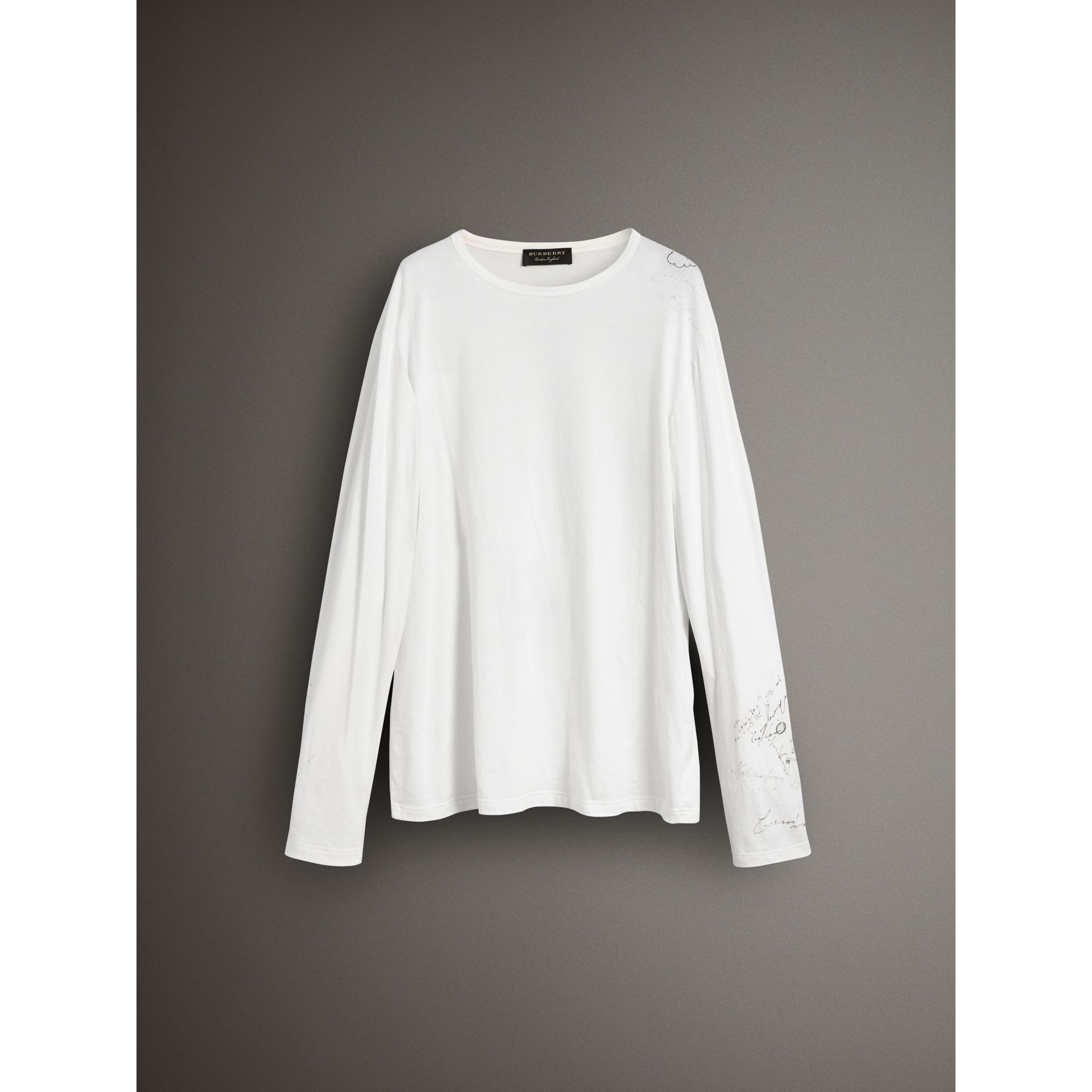 Long-sleeve Sketch Print Cotton Top in White - Women | Burberry Australia - gallery image 3