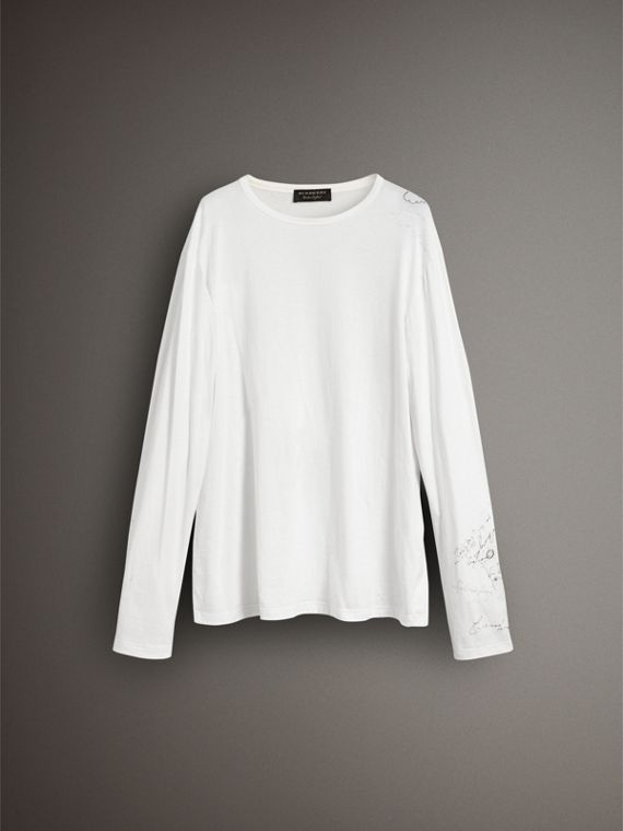 Long-sleeve Sketch Print Cotton Top in White - Women | Burberry Australia - cell image 3