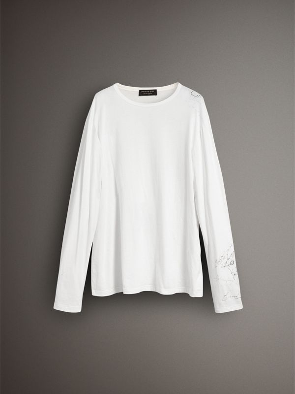Long-sleeve Sketch Print Cotton Top in White - Women | Burberry - cell image 3