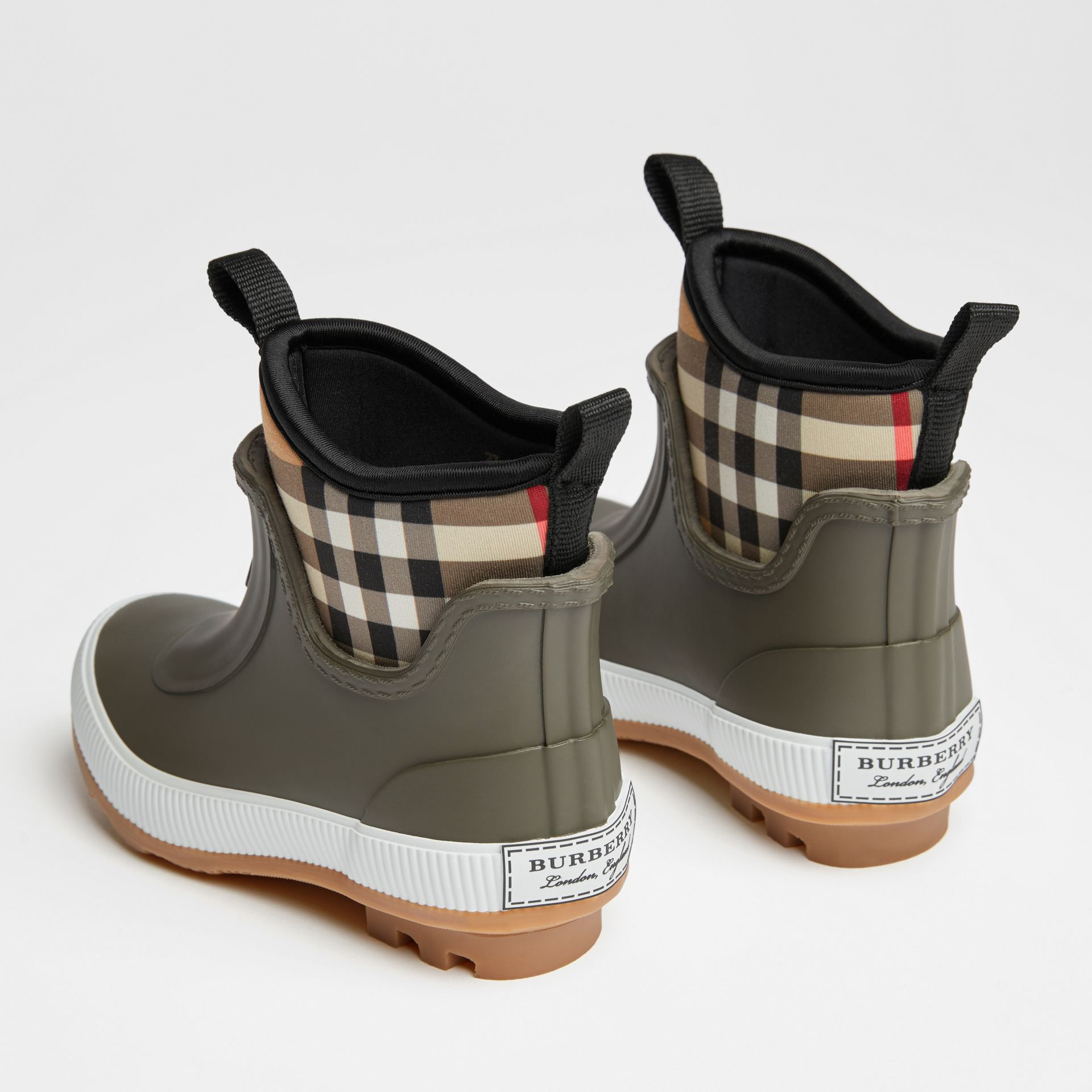 Vintage Check Neoprene and Rubber Rain Boots in Military Green | Burberry Canada - gallery image 2